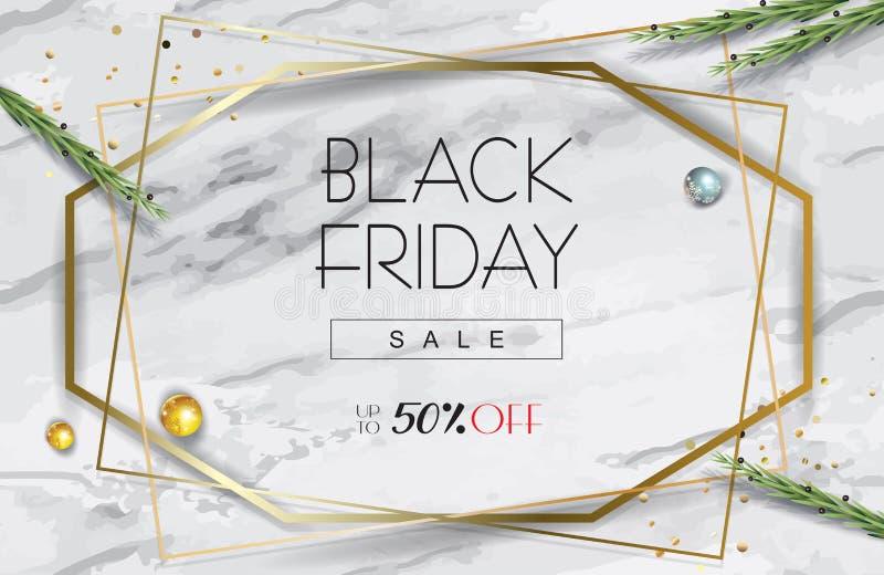 Black Friday Sale guld- geometriska ramar, eukalyptussidor, lövverk på marmortabellen, bästa sikt royaltyfri illustrationer