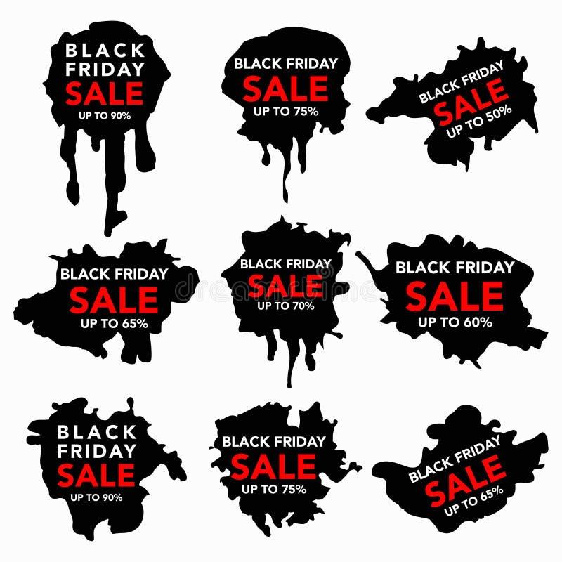 Black Friday sale Hand-drawn ink badges set. Vector illustration. Black, white and red illustration vector illustration