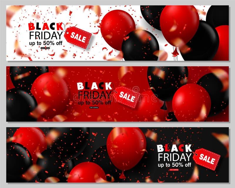 Black Friday Sale horisontalbaneruppsättning Flyga glansiga ballonger på svart och röd bakgrund för vit, Fallande konfettier och royaltyfri illustrationer