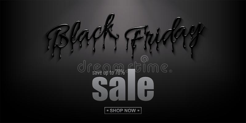 Black Friday Sale horizontal design template. Realistic Black Friday 3d lettering with black liquid droplets and. Discount text on black background. Vector vector illustration