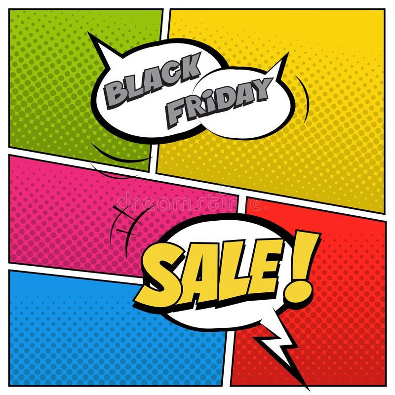 Black Friday Sale illustration in comic book style. Speech bubbles with Black Friday Sale text on colored halftone stock illustration