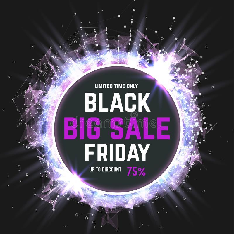 Black Friday sale inscription on abstract stains. Friday banner. Sale and discount. Vector illustration.  royalty free illustration