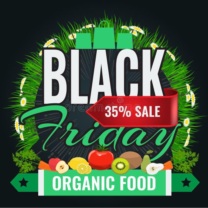 Black Friday sale inscription design banner template for organic food vector illustration