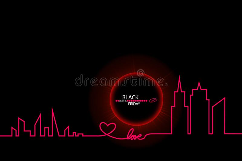 Black Friday sale inscription design template. Eclipse. Black Friday banner. Vector illustration. Black Background with. An Abstract City Skyline with Loading stock illustration