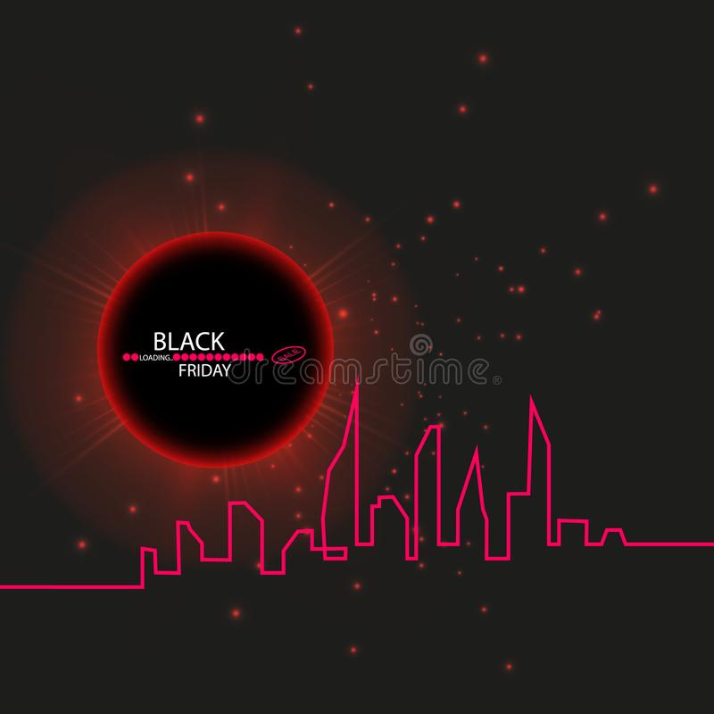 Black Friday sale inscription design template. Eclipse. Black Friday banner. Vector illustration. Black Background with. An Abstract City Skyline with Loading royalty free illustration