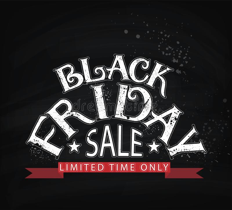 Black Friday sale lettering banner or flyer template. November shopping event advertising layout. Template stock illustration