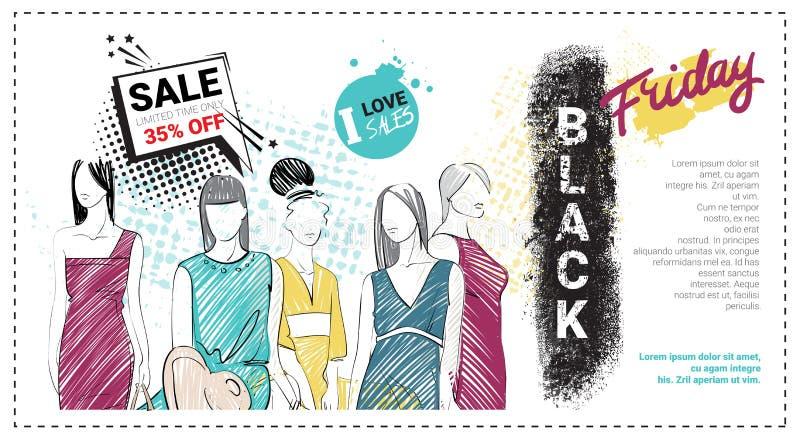 Black Friday Sale mallbroschyr med hand drog modemodeller och kopieringsutrymme, ny samling av kläderrabatter stock illustrationer