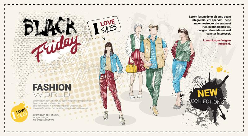 Black Friday Sale mallbroschyr med hand drog modemodeller och kopieringsutrymme, ny samling av kläderrabatter royaltyfri illustrationer