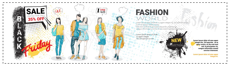 Black Friday Sale mallhorisontalbaner med hand drog modemodeller och kopieringsutrymme, ny samling av kläder vektor illustrationer