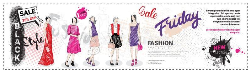Black Friday Sale mallhorisontalbaner med hand drog modemodeller och kopieringsutrymme, ny samling av kläder royaltyfri illustrationer