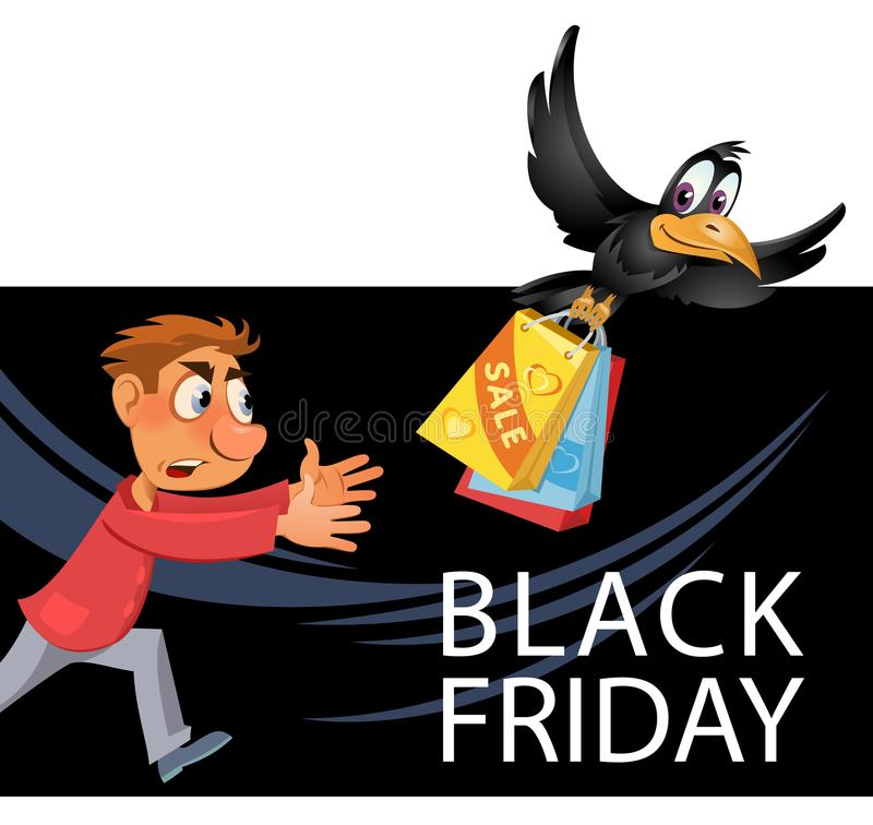 Black Friday sale. Man trying to catch crow who carries stolen p vector illustration