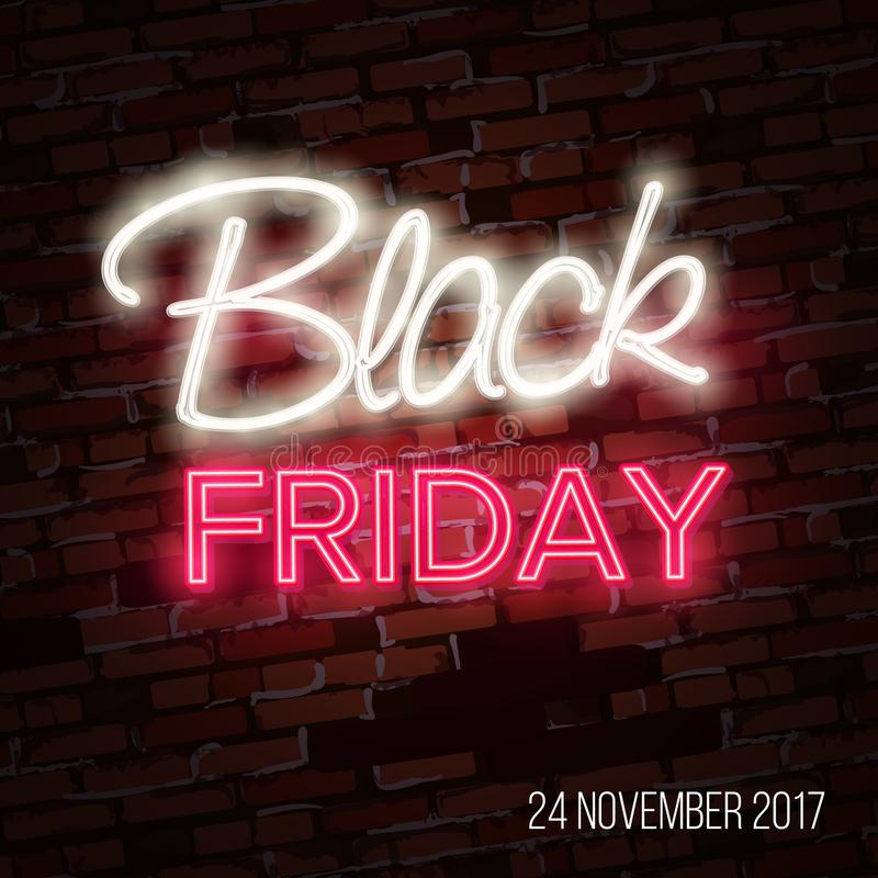 Black friday sale, massive savings poster design concept, neon style. Luminous light colorful line text lettering sign on dark dots backdrop. Glow effect royalty free illustration