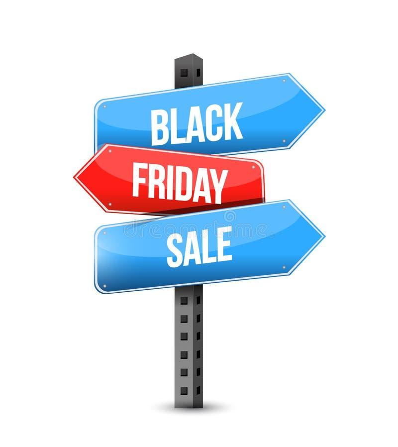 Black Friday sale multiple destination color street sign stock illustration
