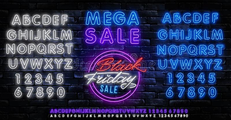Black Friday Sale Neon Banner Vector. Black Friday neon sign, design template, modern trend design, night neon signboard, night. Bright advertising, light stock illustration
