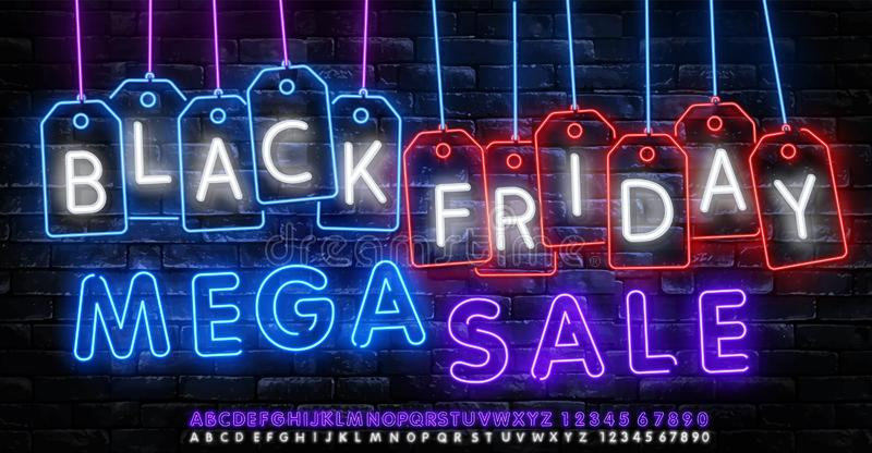 Black Friday Sale Neon Banner Vector. Black Friday neon sign, design template, modern trend design, night neon signboard, night. Bright advertising, light royalty free illustration