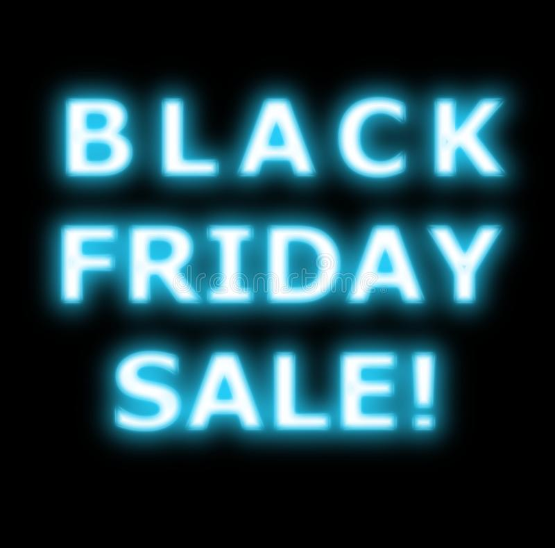 Black Friday sale neon on black. Glowing for print Black friday sale design template. Black friday light frame. Glowing neon background. Vector illustration royalty free stock photo