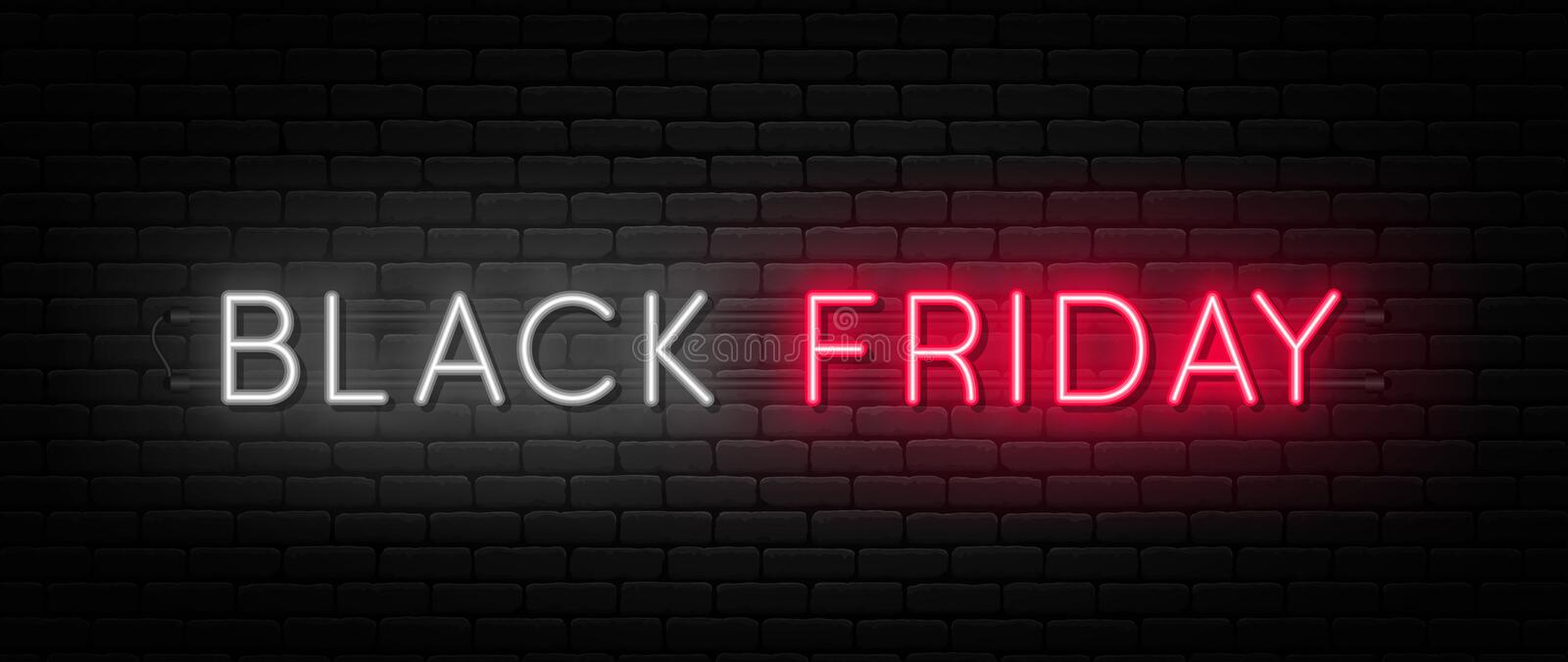 Black Friday sale. Black Friday neon sign on brick wall background. Glowing white and red neon text for advertising vector illustration