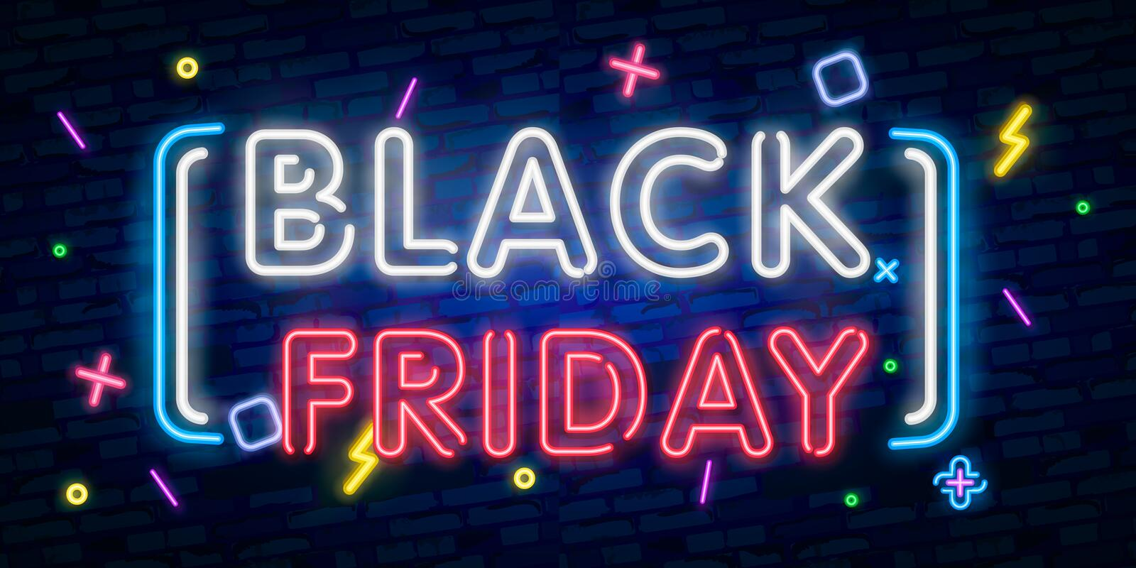 Black Friday Sale neon sign vector. Black Friday Sale Design template neon sign, light banner, neon signboard, nightly bright adve stock illustration