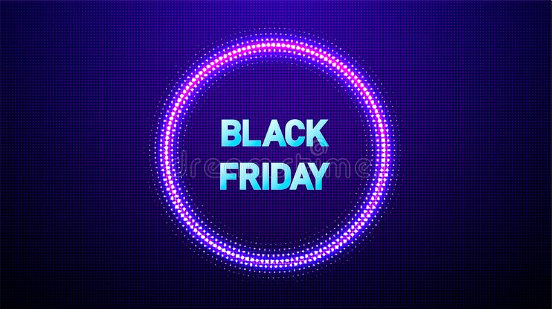 Black friday sale neon vector banners. Abstract Halftone circle vector frame with Glowing abstract random dots. EPS 10 royalty free illustration