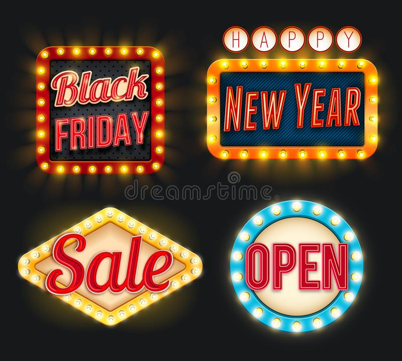 Black Friday sale New Year open vector retro icons vector illustration