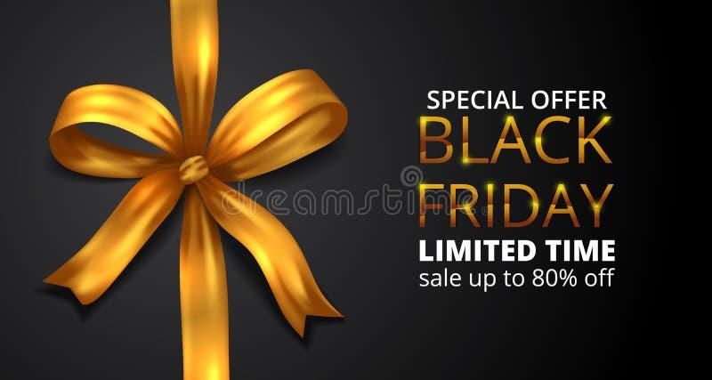 Black Friday sale offer banner with illustration fabric ribbon golden stock illustration