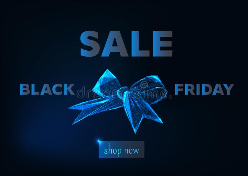 Black friday sale online shopping web banner template with gloeing low poly ribbon bow symbol, shop now button and promo text on stock illustration