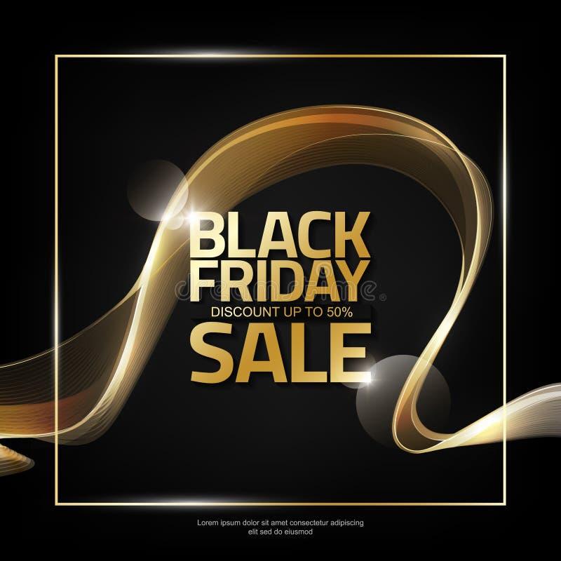Black Friday Sale på abstrakt skinande guld- vågbandbakgrund, designbeståndsdel för designmallen, vektorillustration vektor illustrationer
