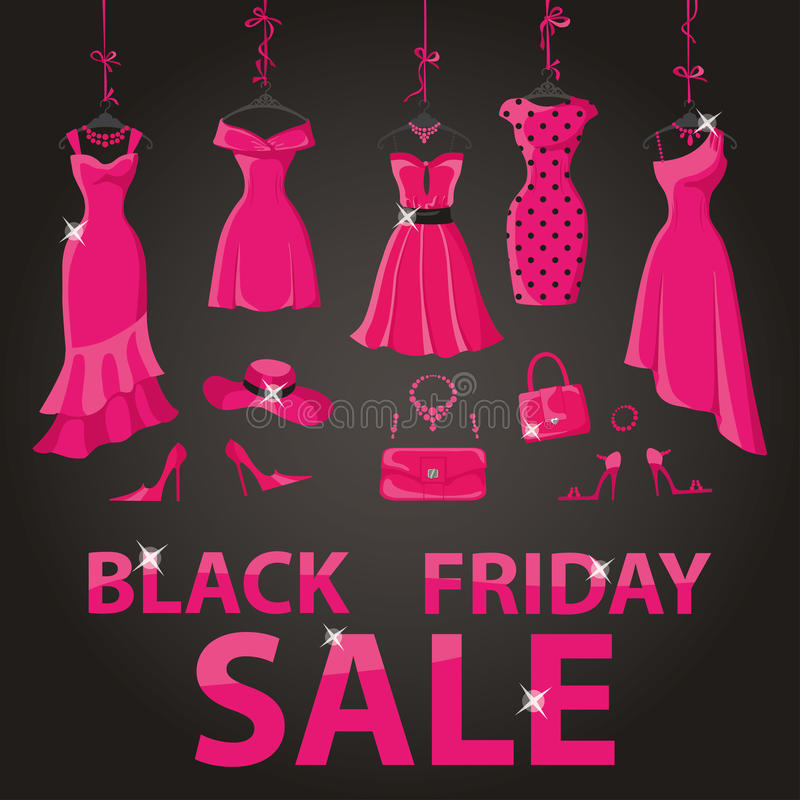 Black friday Sale.Pink party dresses,accessories royalty free illustration