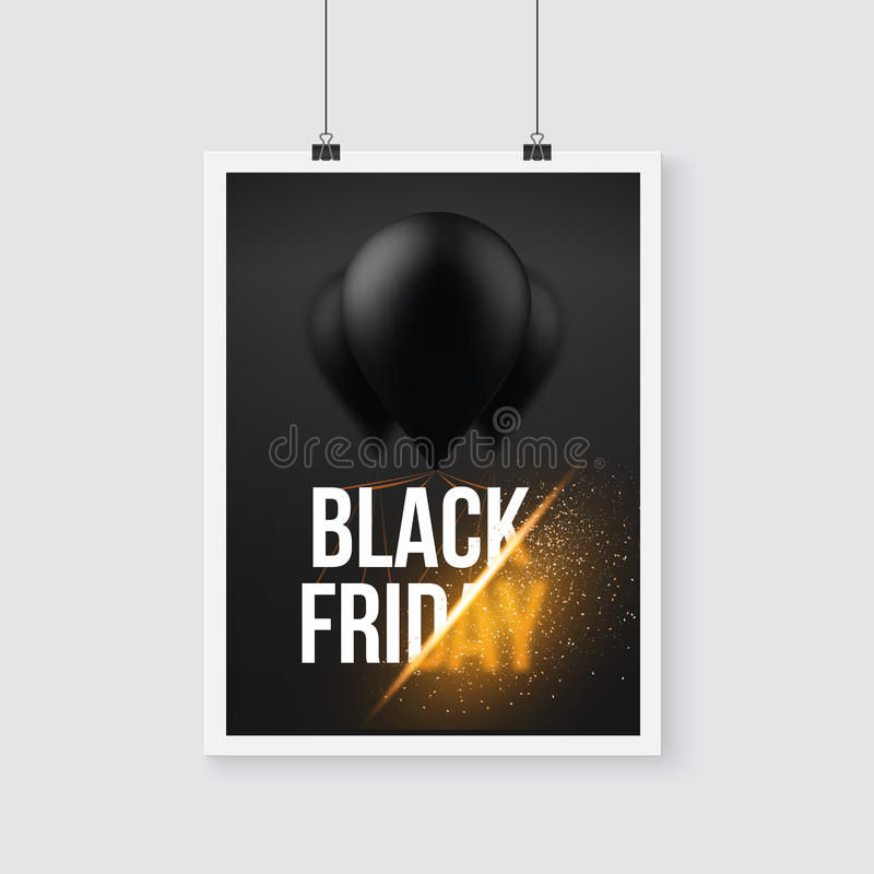 Black Friday Sale Poster Air Balloon Template with Explosion royalty free illustration