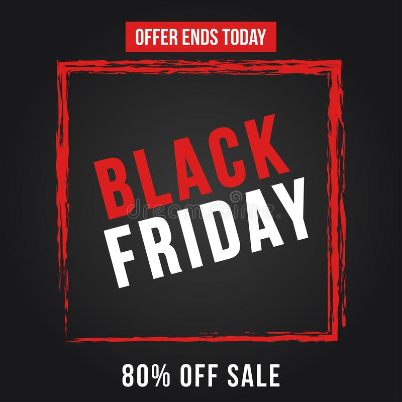 Black Friday Sale Poster. Seasonal discount banner with red grunge frame on black background. royalty free illustration