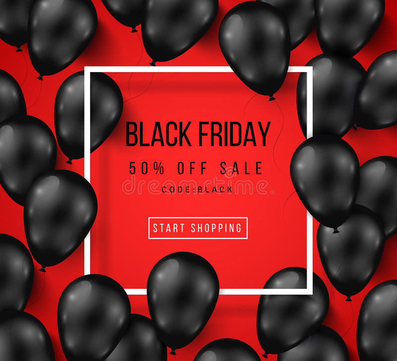Black Friday Sale Poster with Shiny Balloons royalty free illustration