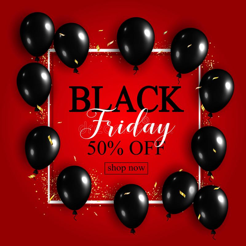Black Friday Sale Poster with Shiny Balloons on Red Background w vector illustration