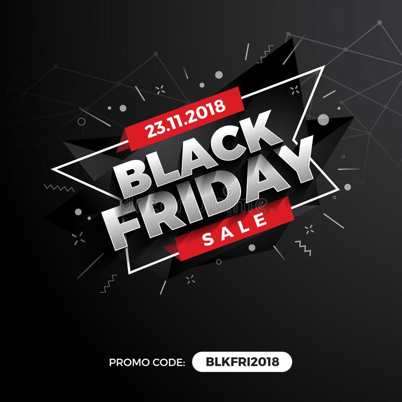 Black Friday Sale Promotion Banner Background with Promo Code Field. Vector illustration stock illustration