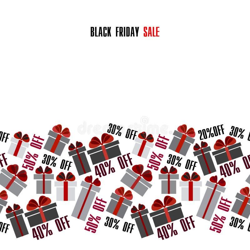 Black Friday sale. Black red white gift boxes horizontal seamless border. Light  design. Vector illustration stock vector vector illustration