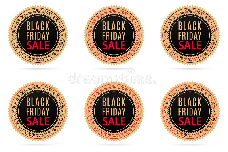 Black Friday Sale. Round Banner with Advertising stock illustration
