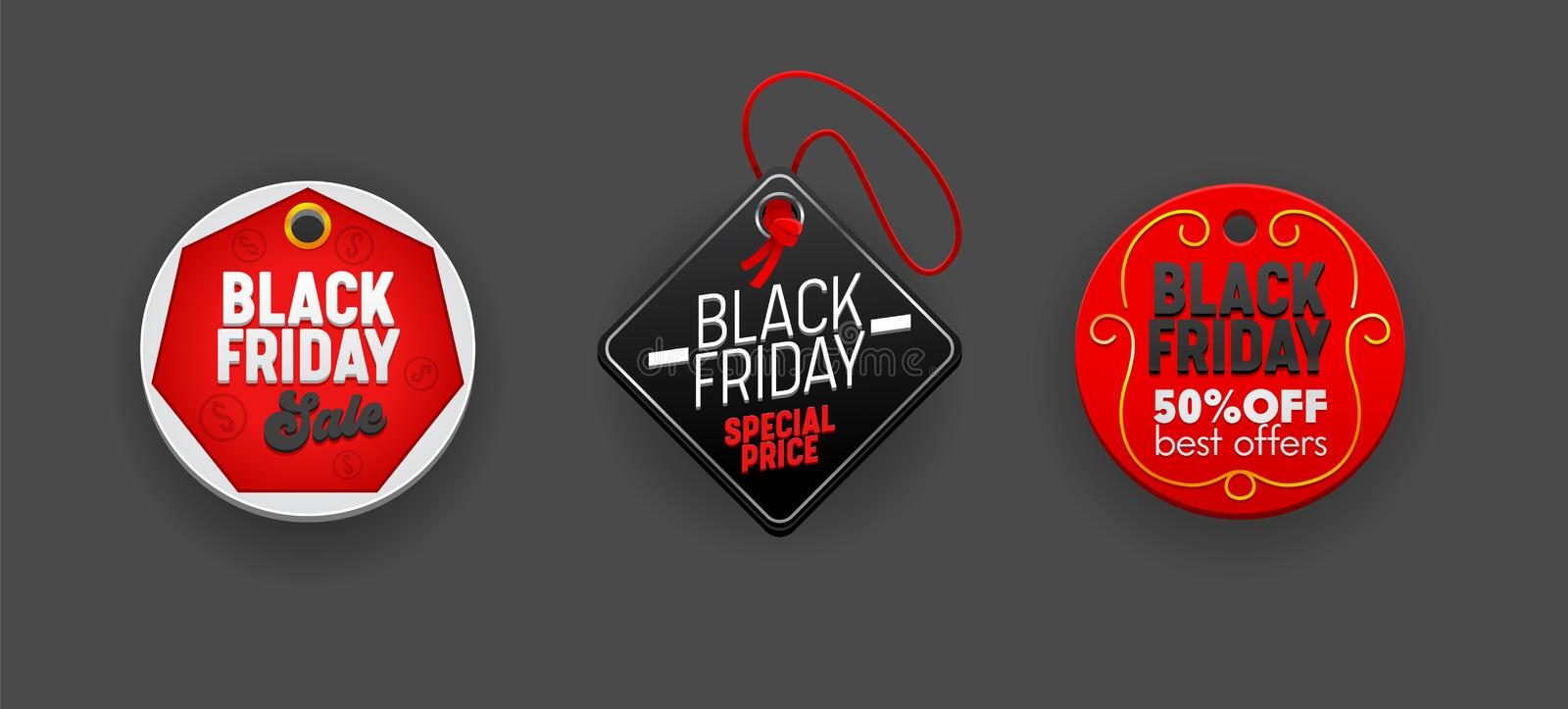 Black Friday Sale Round and Rhombus Tags Set, Discount Templates. Various Design Elements for Decorating Promo. Advertising Off Poster in Social Media. Ad stock illustration