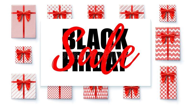 Black Friday Sale. Sales banner with design calligraphic lettering text. Gift boxes, red ribbon and bow. Present box stock illustration
