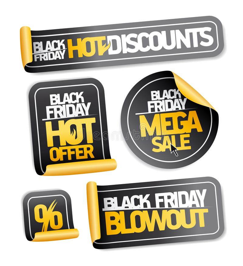 Black friday sale stickers set. Hot discounts, mega sale, hot offer, blowout stock illustration