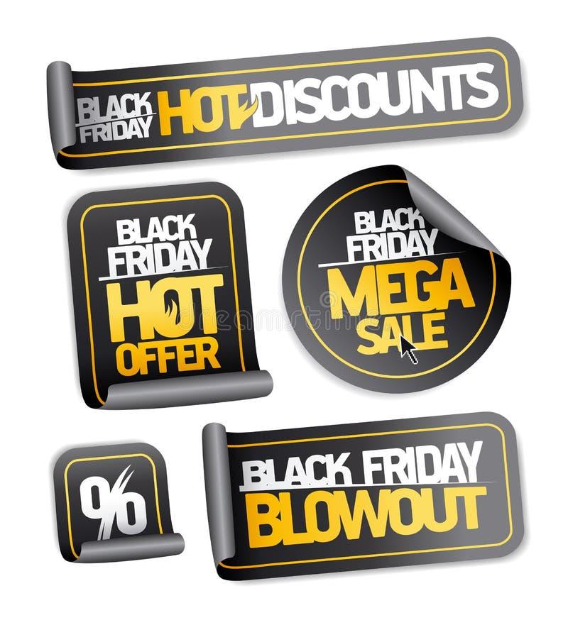 Black friday sale stickers set - mega sale, hot discounts, hot offer royalty free illustration