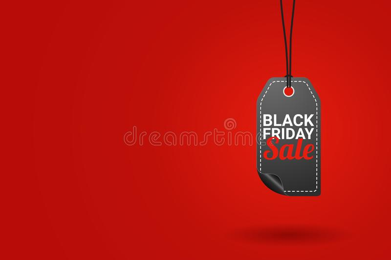 Black friday sale tag on red background vector illustration