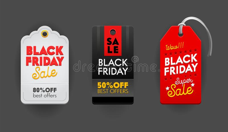 Black Friday Sale Tags or Emblems Set. Labels Icons and Signs with Typography for Price Cards, Banners or Logo Design stock illustration