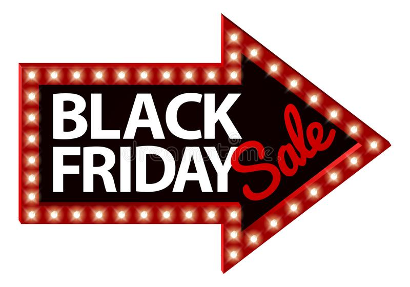 Black Friday Sale teckenpil royaltyfri illustrationer