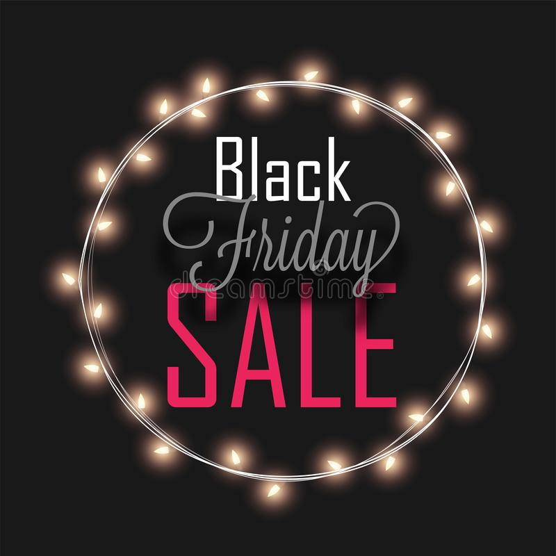 Black Friday Sale text in circular lighting frame on black background, Advertising template or poster design. royalty free illustration