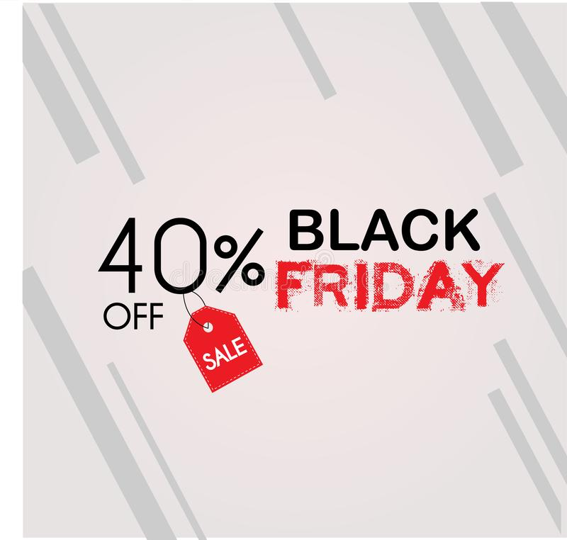 Black Friday: 40% Sale vektor illustrationer
