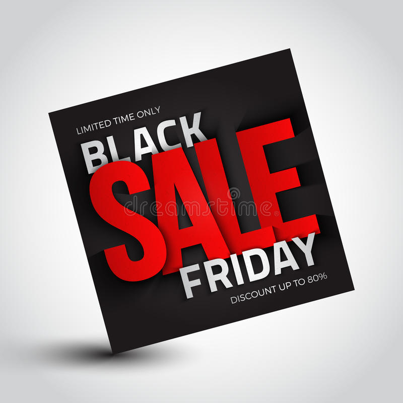 Black Friday Sale Vector Background. 3d square banner. Design template with inscription. Business, marketing and holiday illustration stock illustration
