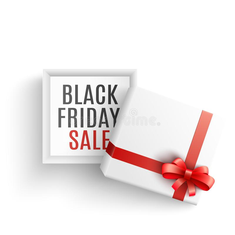 Black friday sale vector illustration with open white gift box with sign on bottom. vector illustration