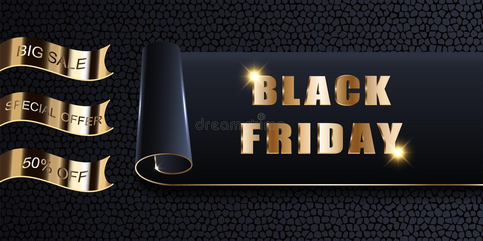Black Friday Sale, vector mockup of banner, invitation, card, ads, logo, offer. Stylish luxury golden design dark background with. Texture, twisted and rolled vector illustration