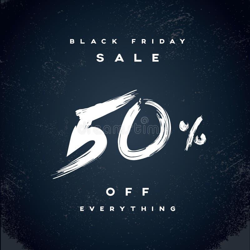 Black Friday Sale vektorbaner med percentual rabatterbjudande i modern vattenfärgborstehandskrift royaltyfri illustrationer