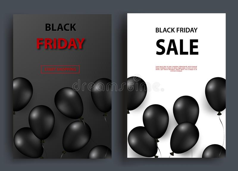 Black friday sale vertical banners. Flying glossy balloons on a dark and white background. Vector royalty free illustration