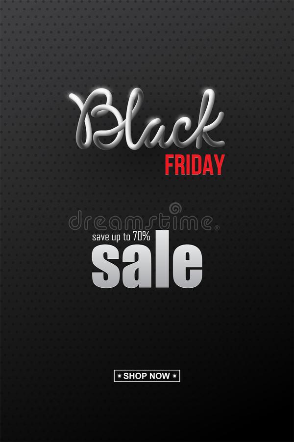 Black Friday Sale vertical design template. Realistic Black Friday 3d lettering with black liquid droplets and discount. Text on black background. Vector design royalty free illustration